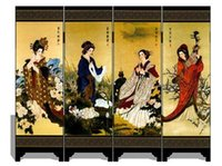 Wholesale New Oriental Chinese Traditional Four Beauties Golden Lacquer Folding Room Screen Divider Four Great Beauties jy418