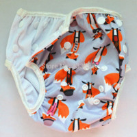 Wholesale 1 Fox ALL IN ONE New Design Swim Diaper Nappy Reusable Adjustable for baby infant boy girl toddler years PUL