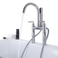 bathtub shower hose - Brass two handle Bathtub Faucet Chrome finish Bathtub Mixer with Hand Shower and Hose BF950