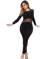 american apparel mesh - Rompers Womens Jumpsuit Sexy Bodycon Club Long Sleeve American Apparel Bodysuit Black Mesh Ladies Jump Suit Combinaison