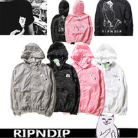 Wholesale Autumn Men Jacket RIPNDIP Hooded Outwear Black Gray White Pink colors Lover s Jacket Women Jacket