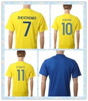 ukraine - Fast Thailand Ukraine STEPANENKO SHEVCHENKO VORONIN GUSEV REBROV Home Yellow Blue Soccer Jersey full Shirt