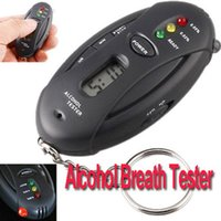 Wholesale LCD Prefessional Police Digital Breath Alcohol Tester battery the Breathalyzer Dropship Parking Car Detector Gadgets Meter