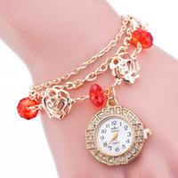 bead craft patterns - Women Wrist Watch Ladies Quartz Watch Girls High Quality Chain Bracelet With Rose Pattern Beads Crafts Fashion Diamond Stainless Steel Dial