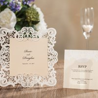 Wholesale 2017 Custom Made Wedding Invitations Champagne Lace Paper Blank Inner Sheet Laser Cutting Flowers Hollow Wedding birthday Party Cards