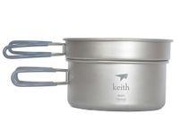 Wholesale 2016 Keith KP6016 Titanium Pot Camping Picnic Cookware Set L g w Mesh Bag