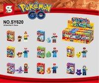 Wholesale Poke go minifigures DIY Building Blocks style NEW children Pikachu Jeni turtle Charmander Poke Ball DIY Bricks Toys SY620 EMS Shipping