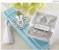 Wholesale fleur de lis metal bookmark silver color with white tassel gift box