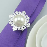 Wholesale Hot Sell New Napkin Rings White pearl Napkin Rings holder for Hotel Wedding Banquet Table Decoration Accessories