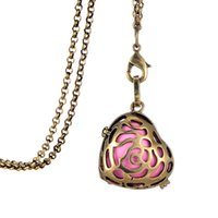 aromatherapy pendant - Myshape Fashion Jewelry Permium Aromatherapy Essential Oil Diffuser Locket Colorful Heart Pendant Necklaces Diffuser Locket Necklaces