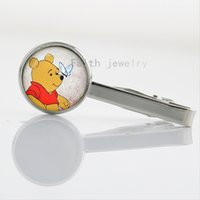 Wholesale 2016 New Fashion Cute Cartoon Bear Winnie picture the Girls Glass Cabochon tie clip NS435
