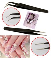 Precio de Órdenes de uñas acrílicas-Envío 2 Negro de acrílico del gel del arte del clavo de Paillette de la pinza de Picking herramienta E5M1 orden de las pistas $ 18Nadie