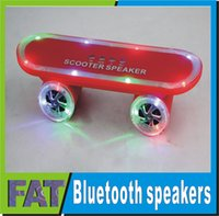 Wholesale 2016 Christmas Gift Wireless Bluetooth Mini speakers LED Flash Foot scooters Subwoofer Stereo Portable speaker for smartphone U disk TF Card