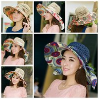 Wholesale 100pcs LJJG184 Foldable Brim Sunhat Women Summer Wide Brim Floppy Hat Straw hats Beach Head Wear Hand Knitting Sunbonnet Topee
