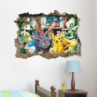 Wholesale Poke Wall Stickers Cartoon D Waterproof Wall Decal Pikachu Amination Poster Wall Art Removable Wallpaper for Kids Rooms Home Decorations