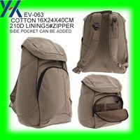 backpack makers - china bag maker oem khaki cotton d polyester side pocket laptop fashion super light backpack bag