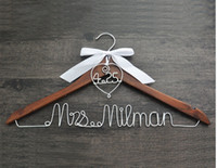 Wholesale Personalized Wedding Hanger with heart and date for your wedding bridal hanger bow wedding dress hanger Bridesmaids For wedding party gifts