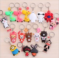 ali pendant - Hot Cute Baymax Minions Monkey Keychian Ali PVC Mental Keychain Pendants for kids gift toy cm