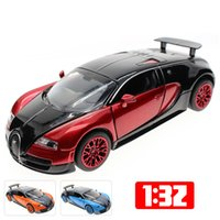 Wholesale Model Cars Diecast Car Model Scale Toy Trucks Alloy Car Glow LED Speaker Pull Back Electroplated Car Kids Toys Gift Items Bugatti Veyron
