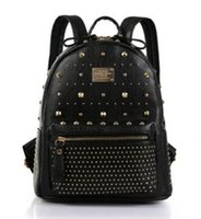 Wholesale 2016 Designer Brand Women s Backpack High Quality genuine Leather Fashion Rivets Military Backpack for Teenage Girls Shoulder Bags