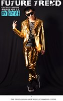 Wholesale Fashion Men s Gold Leather Jacket Pants Performance Wear Clothing Male Singer DJ Star GD Patent Leather Stitching Bar Costumes