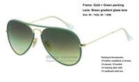 Nouveau pilote JM Lunettes de soleil en métal de couleur pleine couleur 001 / 3M Lunettes de verre en or vert à gradient de cadrage Gafas de sol de qualité supérieure