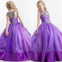 ball dress from china - Charming Purple Organza Ball Gowns Pageant Dresses For Girl Modest Beaded Crystal Long Formal Party Gowns Custom Made China EN4267