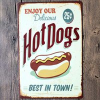 acrylic painting signed - Enjoy our delicious hot dogs best in town wall decalsmetal tin signs plate painting Home decoration wall decor Wall stickers