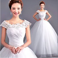 Wholesale Hot Freeshiping with Petticoat Classic Sweet Exquisite Lace Off the Shoulder Beading Princess Ball Gown Wedding Dress
