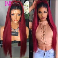 Cheap 8A Super Straight Full Lace Human Hair Wigs for Black Women Brazilian hair Two Tone #1b Burgundy ombre color Lace Front Wig