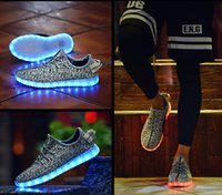authentic shoes wholesale - 2016 Authentic Original Kanye West Plus Size LED Light Up Shoes Men and Women Sports Outdoor Running Shoes