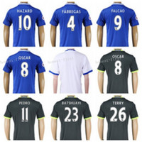 Wholesale 2016 Chelsea Soccer Eden Hazard Jersey Custom Football Shirt FABREGAS CUADRADO TORRES Personalized Blue White Black Uniforms