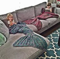 best soft towels - Best Selling Mermaid Blankets Soft Hand Crocheted Cartoon Sofa Throw Blanket Air Condition Blanket Sleeping Bags Siesta Blanket