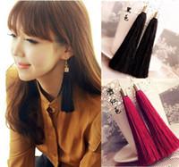 big plastic earrings - Momoko black vintage tassel earrings long earring big earrings fashion earrings C45 C50