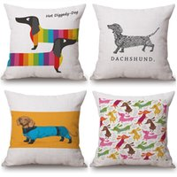 Wholesale Sausage Dog Dachshund LOVE HEART cushion covers Candy Color Watercolor Birds pillow covers Linen Cotton home Sofa decoration