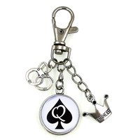 art keychain - QUEEN OF SPADES SLAVE BBC SWINGER FETISH CUCKOLD CUCK KEYCHAIN ART DOME CAMEO CHOOSE YOUR STYLE KC013