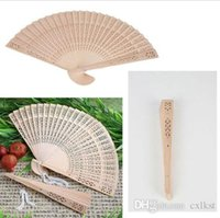 antique fan parts - Chinese Oriental Elegant Sandalwood Wooden Hollow Hand Fan Gift Part Wedding Brand New Good Quality