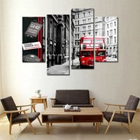 arts bus - 4 Panel Wall Art Painting Red London Bus In Black And White Paintings For Living Room Decor City Pictures Photo Prints On Canvas