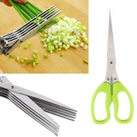 Wholesale Multi functional Stainless Steel Kitchen Knives Layers Scissors Sushi Shredded Scallion Cut Herb Spices Scissors Cooking Tools