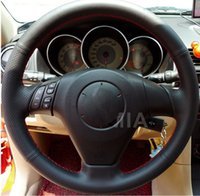 Wholesale High Quality for Old Mazda Mazda Mazda Pentium B70 Car Special Hand stitched Black Leather Steering Wheel Cover
