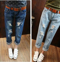 Wholesale 2016 New Designer Brand Personalized Fashion Women Denim Flare Pants Big girl Stretch Jeans Destroy Skinny Ripped Distressed Pants
