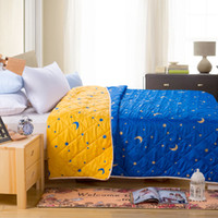 Wholesale microfiber fabric summer quilts comforter printed stars four sizes for adults