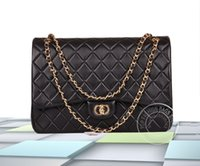 quilted handbags - 5A Top Quality CF Maxi Handbag Luxury Women Lambskin Caviar Leather Single Double Flaps Quilted Chain Designer Message Bag cm CC308