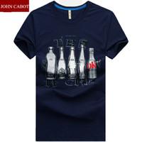 beer tee shirts - New Brand JOHN CABOT t shirt men Short Sleeve O neck Printed T Shirt Beer Bottle Cotton Mens Tops Tees