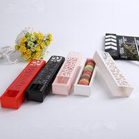 bakery desserts - Hollow long Drawer Section Macaron Cake Boxes dessert boxes of chocolate biscuits bakery packaging CM CM CM Red White Black
