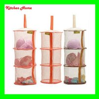 bag cage - 3 Layer Folding Home Storage Hanging Laundry Basket Multi Color Mesh Clothes Storage Cage Toy Storage Bag