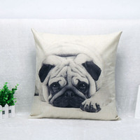Wholesale Throw Pillow Covers Cute Pug Pet Black Dog Linen Custom Home Decorative Throw Pillow Case Almofadas Decorate Sofa Chair Cushion