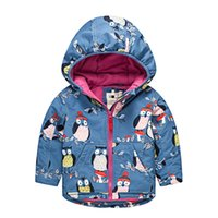 babies greatcoat - Unisex kids Owl patternd pizex winter children blue animal Thickened clothes with velvet baby Long sleeve hooded greatcoat for t