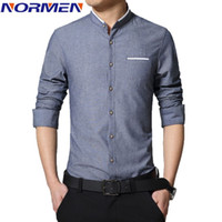 band collar shirts for men - 2016 New Brand Men s Casual Shirt Long Sleeve Banded Collar Easy Care Collarless Shirts Slim Fit Dress Shirt For Men Business