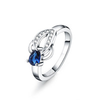 Wholesale Fashion Jewelry Silver Plated Blue Gem Stone Teardrop Clear Crystal Paved Ring for Women Size